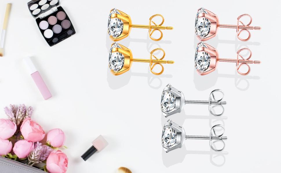 37265802 0535 431a 8b46 131f63f930a8.  CR0,0,970,600 PT0 SX970 V1    - 5 Pairs Stud Earrings Set, Hypoallergenic Cubic Zirconia 316L Earrings Stainless Steel CZ Earrings 3-8mm, Rose Gold …