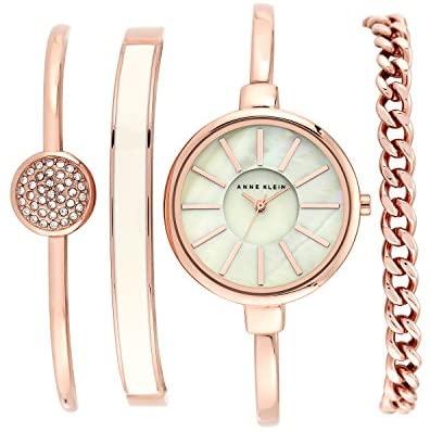 412ZAsif+UL. AC  - Anne Klein Women's Bangle Watch and Swarovski Crystal Bracelet Set, AK/1470