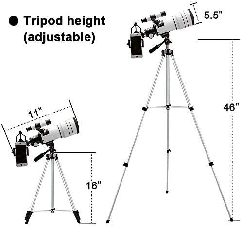 4143iWNsrYL. AC  - ToyerBee Telescope for Kids &Adults &Beginners,70mm Aperture 300mm Astronomical Refractor Telescope(15X-150X),Portable Travel Telescope with an Adjustable Tripod,A Phone Adapter&A Wireless Remote