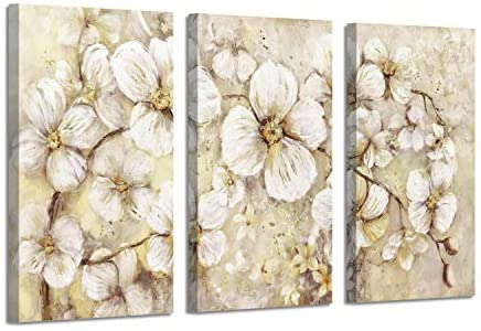 415odPWjpL. AC  - Abstract Flower Picture Canvas Art: White Bloom Gold Foil Painting for Wall Decor