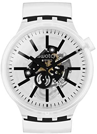 41Axy8AdmWL. AC  - Swatch Swiss Quartz Silicone Strap, Transparent
