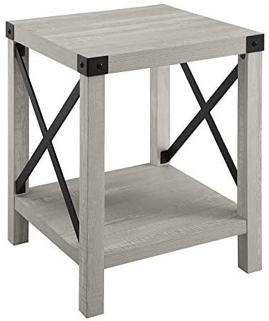 41BbzziMaLL. AC  - Walker Edison Furniture Company Rustic Modern Farmhouse Metal and Wood Square Side Accent Living Room Small End Table, 18 Inch, Stone Grey