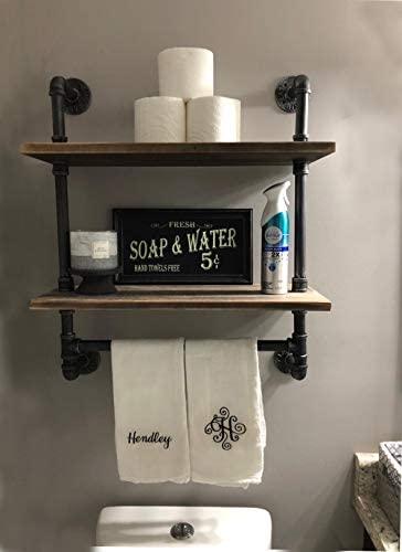 "41DgiZMVYXL. AC  - Industrial Pipe Shelf,Rustic Wall Shelf with Towel Bar,20"" Towel Racks for Bathroom,2 Tiered Pipe Shelves Wood Shelf Shelving"