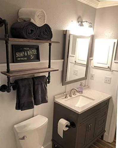 "41EjC8Xq5PL. AC  - Industrial Pipe Shelf,Rustic Wall Shelf with Towel Bar,20"" Towel Racks for Bathroom,2 Tiered Pipe Shelves Wood Shelf Shelving"