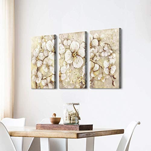 41GZqixyzEL. AC  - Abstract Flower Picture Canvas Art: White Bloom Gold Foil Painting for Wall Decor
