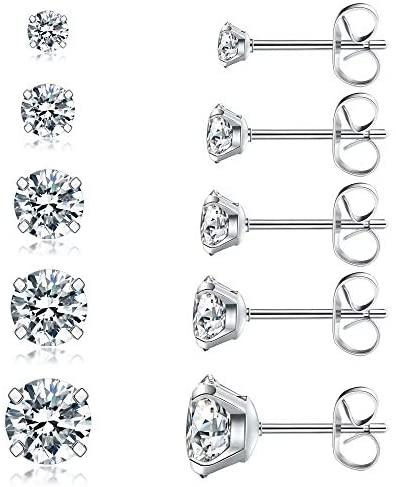 41LdYefvi1L. AC  - 5 Pairs Stud Earrings Set, Hypoallergenic Cubic Zirconia 316L Earrings Stainless Steel CZ Earrings 3-8mm, Rose Gold …