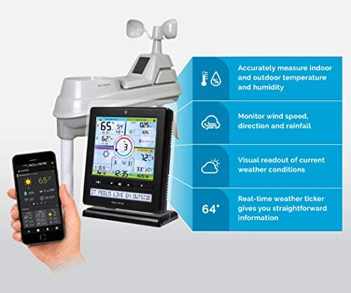 41Sn8fJXjKL. AC  - AcuRite Wireless Home Station (01536) with 5-1 Sensor and Android iPhone Weather Monitoring