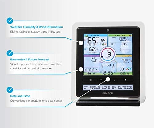 41a67+Ne8LL. AC  - AcuRite Wireless Home Station (01536) with 5-1 Sensor and Android iPhone Weather Monitoring