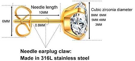 41duosp8BEL. AC  - 5 Pairs Stud Earrings Set, Hypoallergenic Cubic Zirconia 316L Earrings Stainless Steel CZ Earrings 3-8mm, Rose Gold …