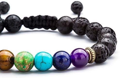 41e9tfxGWhL. AC  - Hamoery Men Women 8mm Lava Rock 7 Chakras Aromatherapy Essential Oil Diffuser Bracelet Braided Rope Natural Stone Yoga Beads Bracelet Bangle