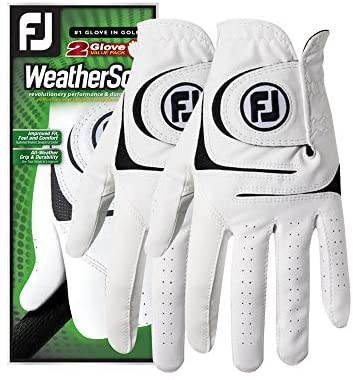 41nQyG2yjL. AC  - FootJoy Men's WeatherSof Golf Gloves, Pack of 2 (White)