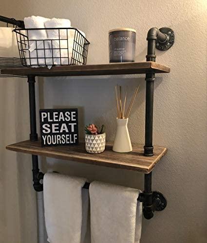 "41tSRtX+DsL. AC  - Industrial Pipe Shelf,Rustic Wall Shelf with Towel Bar,20"" Towel Racks for Bathroom,2 Tiered Pipe Shelves Wood Shelf Shelving"