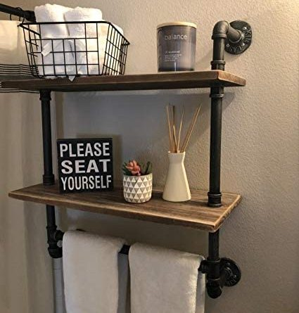 "41tSRtXDsL. AC  425x445 - Industrial Pipe Shelf,Rustic Wall Shelf with Towel Bar,20"" Towel Racks for Bathroom,2 Tiered Pipe Shelves Wood Shelf Shelving"