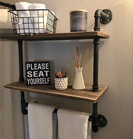 "41tSRtXDsL. AC  425x445 - Industrial Pipe Shelf,Rustic Wall Shelf with Towel Bar,20"" Towel Racks for Bathroom,2 Tiered Pipe Shelves Wood Shelf Shelving"