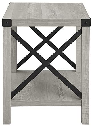 41x3o7F+tlL. AC  - Walker Edison Furniture Company Rustic Modern Farmhouse Metal and Wood Square Side Accent Living Room Small End Table, 18 Inch, Stone Grey