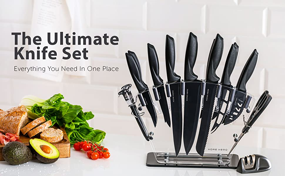 4949a4f9 d81e 4b72 9ac0 612a3e299c54.  CR0,0,2000,1237 PT0 SX970 V1    - Stainless Steel Knife Set with Block 17 Piece Set Kitchen Knives Set Chef Knife Set with Knife Sharpener, 6 Steak Knives with Bonus Peeler Scissors Cheese Pizza Knife and Acrylic Stand by Home Hero