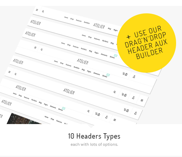 5 atelier headers - Atelier - Creative Multi-Purpose eCommerce Theme