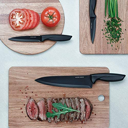 51 gY7YLZXL. AC  - Stainless Steel Knife Set with Block 17 Piece Set Kitchen Knives Set Chef Knife Set with Knife Sharpener, 6 Steak Knives with Bonus Peeler Scissors Cheese Pizza Knife and Acrylic Stand by Home Hero