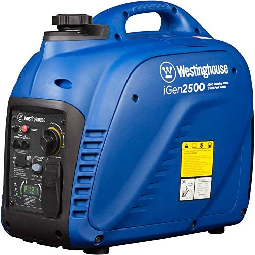 512XR3IMROL. AC  - Westinghouse iGen2500 Super Quiet Portable Inverter Generator 2200 Rated & 2500 Peak Watts, Gas Powered, 19.70 x 11.22 x 17.91 inches, CARB Compliant
