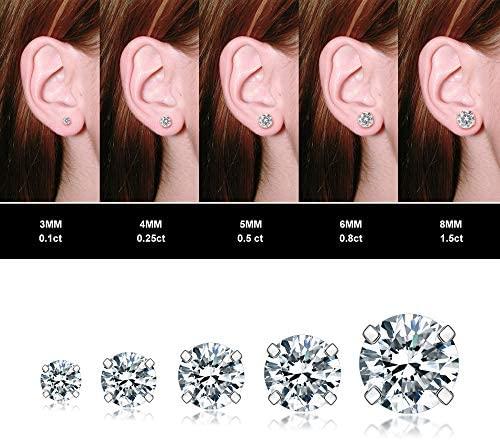 51DQnF5RDWL. AC  - 5 Pairs Stud Earrings Set, Hypoallergenic Cubic Zirconia 316L Earrings Stainless Steel CZ Earrings 3-8mm, Rose Gold …