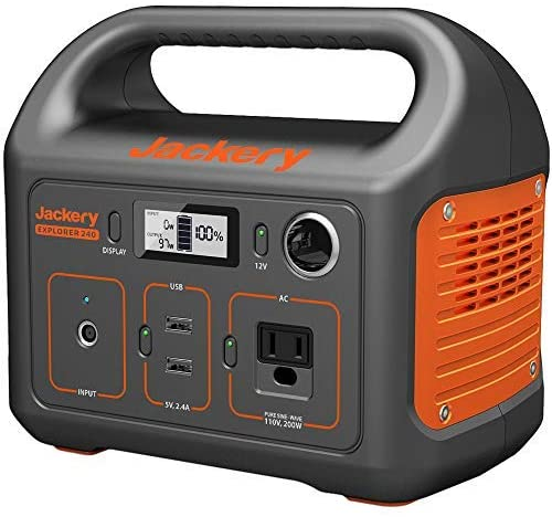51EfLVv F3L. AC  - Jackery Portable Power Station Explorer 240, 240Wh Backup Lithium Battery, 110V/200W Pure Sine Wave AC Outlet, Solar Generator (Solar Panel Not Included) for Outdoors Camping Travel Hunting Emergency