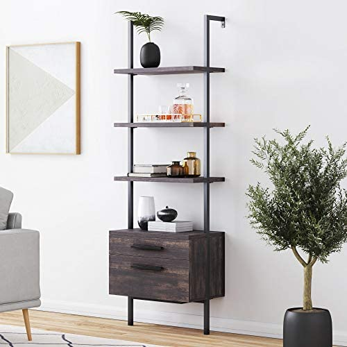 51Fhh0XC0EL. AC  - Nathan James 65801 Theo Industrial Bookshelf with Wood Drawers and Matte Steel Frame, Warm Nutmeg/Black