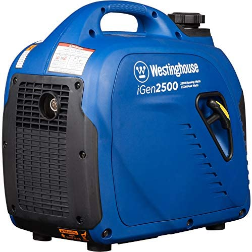 51JGl2dsJ+L. AC  - Westinghouse iGen2500 Super Quiet Portable Inverter Generator 2200 Rated & 2500 Peak Watts, Gas Powered, 19.70 x 11.22 x 17.91 inches, CARB Compliant