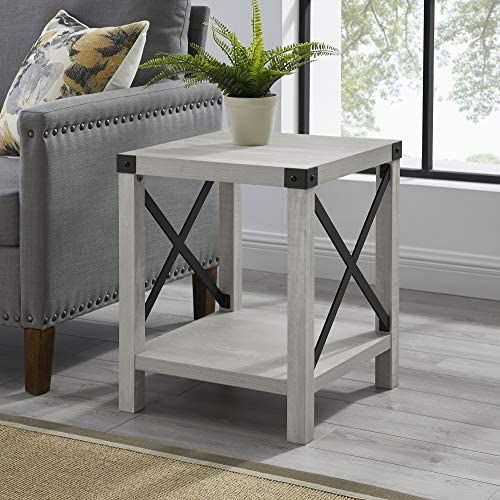 51JO47C1+IL. AC  - Walker Edison Furniture Company Rustic Modern Farmhouse Metal and Wood Square Side Accent Living Room Small End Table, 18 Inch, Stone Grey