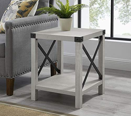 51JO47C1IL. AC  500x445 - Walker Edison Furniture Company Rustic Modern Farmhouse Metal and Wood Square Side Accent Living Room Small End Table, 18 Inch, Stone Grey