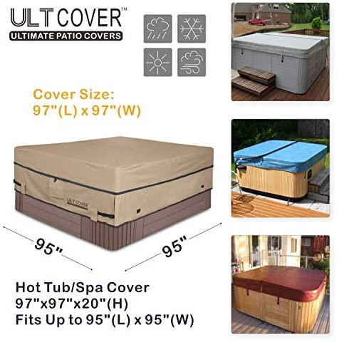 51S5Dx+ bOL. AC  - ULTCOVER Waterproof 600D Polyester Square Hot Tub Cover Outdoor SPA Covers 95 x 95 inch
