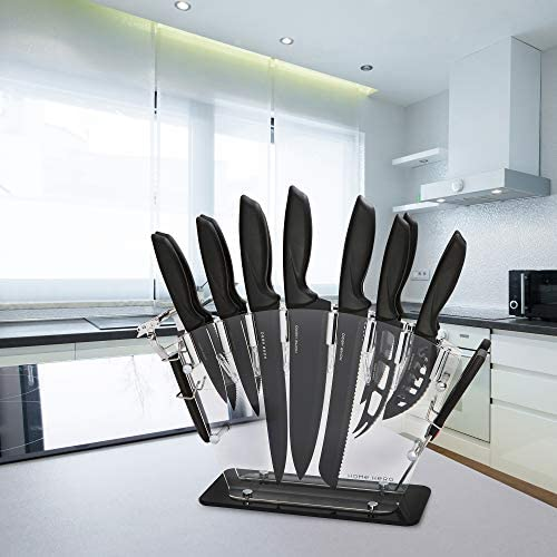 51SW888U nL. AC  - Stainless Steel Knife Set with Block 17 Piece Set Kitchen Knives Set Chef Knife Set with Knife Sharpener, 6 Steak Knives with Bonus Peeler Scissors Cheese Pizza Knife and Acrylic Stand by Home Hero