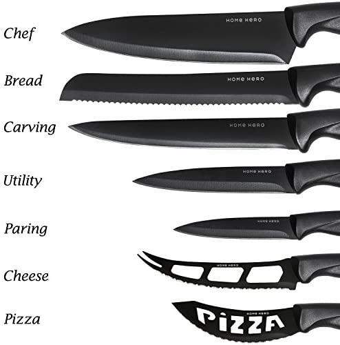 51U7zsYNlSL. AC  - Stainless Steel Knife Set with Block 17 Piece Set Kitchen Knives Set Chef Knife Set with Knife Sharpener, 6 Steak Knives with Bonus Peeler Scissors Cheese Pizza Knife and Acrylic Stand by Home Hero