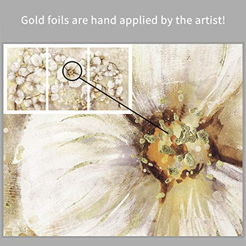 51Vo rHTJgL. AC  - Abstract Flower Picture Canvas Art: White Bloom Gold Foil Painting for Wall Decor