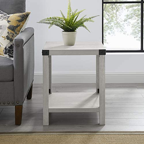 51YmpxFT1yL. AC  - Walker Edison Furniture Company Rustic Modern Farmhouse Metal and Wood Square Side Accent Living Room Small End Table, 18 Inch, Stone Grey