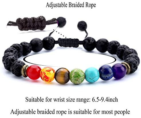 51ZDAFHZ7KL. AC  - Hamoery Men Women 8mm Lava Rock 7 Chakras Aromatherapy Essential Oil Diffuser Bracelet Braided Rope Natural Stone Yoga Beads Bracelet Bangle