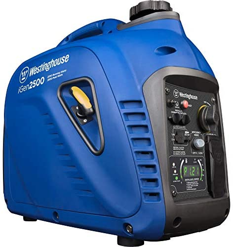 51bNYS+cc+L. AC  - Westinghouse iGen2500 Super Quiet Portable Inverter Generator 2200 Rated & 2500 Peak Watts, Gas Powered, 19.70 x 11.22 x 17.91 inches, CARB Compliant