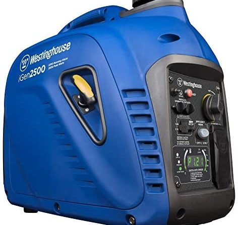 51bNYSccL. AC  472x445 - Westinghouse iGen2500 Super Quiet Portable Inverter Generator 2200 Rated & 2500 Peak Watts, Gas Powered, 19.70 x 11.22 x 17.91 inches, CARB Compliant