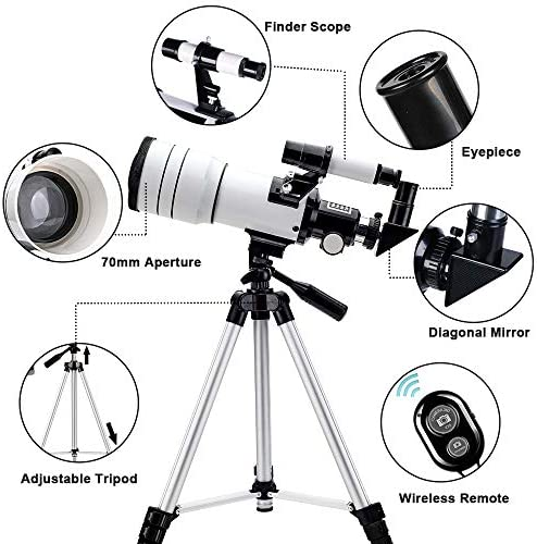 51bX0Mw5IXL. AC  - ToyerBee Telescope for Kids &Adults &Beginners,70mm Aperture 300mm Astronomical Refractor Telescope(15X-150X),Portable Travel Telescope with an Adjustable Tripod,A Phone Adapter&A Wireless Remote