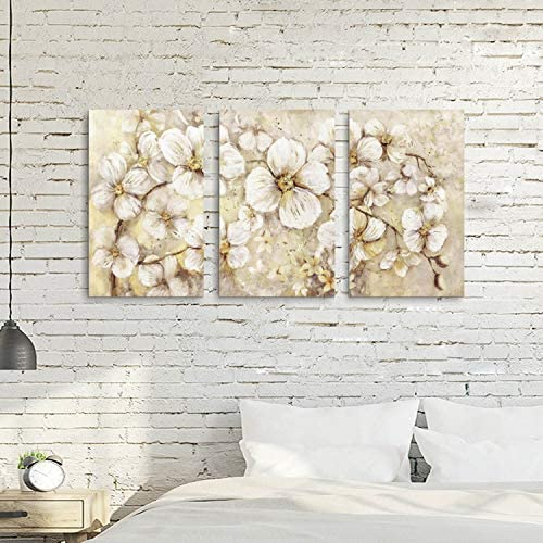 51bZmgjMXVL. AC  - Abstract Flower Picture Canvas Art: White Bloom Gold Foil Painting for Wall Decor