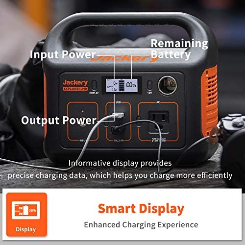 51bsIXvvblL. AC  - Jackery Portable Power Station Explorer 240, 240Wh Backup Lithium Battery, 110V/200W Pure Sine Wave AC Outlet, Solar Generator (Solar Panel Not Included) for Outdoors Camping Travel Hunting Emergency