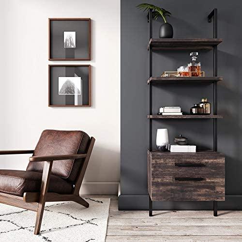 51eK281ekhL. AC  - Nathan James 65801 Theo Industrial Bookshelf with Wood Drawers and Matte Steel Frame, Warm Nutmeg/Black