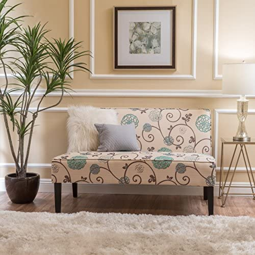 51glSGu4jPL. AC  - Christopher Knight Home Dejon Fabric Love Seat, White And Blue Floral
