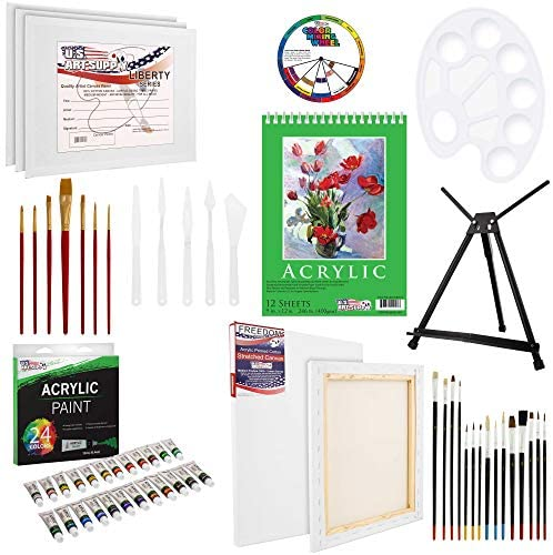51gmrFnl6 L. AC  - U.S Art Supply 60-Piece Deluxe Acrylic Painting Set with Aluminum Tabletop Easel, 24 Acrylic Colors, Acrylic Painting Pad, Stretched & Canvas Panels, Brushes & Palette Knives
