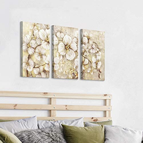 51hZwNSC8wL. AC  - Abstract Flower Picture Canvas Art: White Bloom Gold Foil Painting for Wall Decor