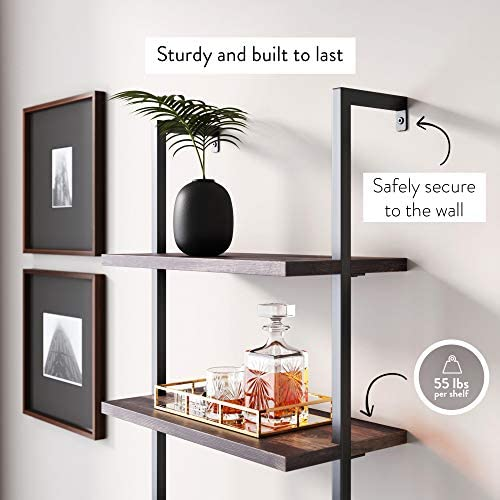 51m9s2KyD5L. AC  - Nathan James 65801 Theo Industrial Bookshelf with Wood Drawers and Matte Steel Frame, Warm Nutmeg/Black