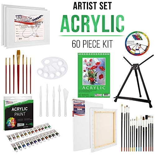 51sNkcOyYEL. AC  - U.S Art Supply 60-Piece Deluxe Acrylic Painting Set with Aluminum Tabletop Easel, 24 Acrylic Colors, Acrylic Painting Pad, Stretched & Canvas Panels, Brushes & Palette Knives