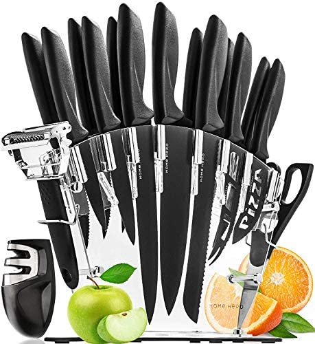 51v97JFOYmL. AC  - Stainless Steel Knife Set with Block 17 Piece Set Kitchen Knives Set Chef Knife Set with Knife Sharpener, 6 Steak Knives with Bonus Peeler Scissors Cheese Pizza Knife and Acrylic Stand by Home Hero