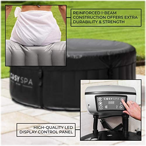 51vG1Oe9HcL. AC  - COSYSPA Inflatable Hot Tub – Luxury Outdoor Bubble Spa | 2-6 Person Capacity – Quick Heating (Hot Tub Only - 4 Person)