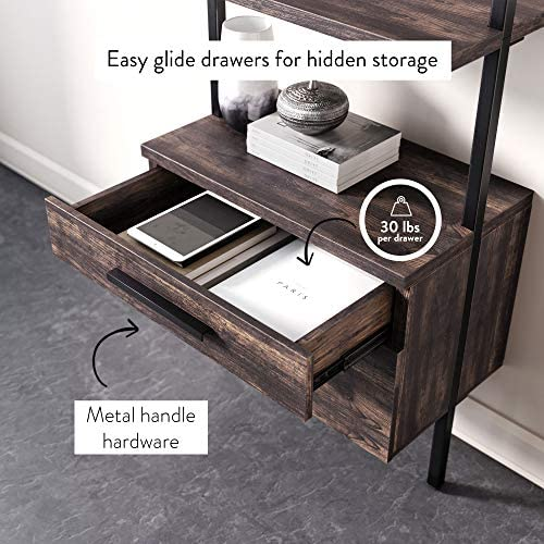 51xkLLBmBVL. AC  - Nathan James 65801 Theo Industrial Bookshelf with Wood Drawers and Matte Steel Frame, Warm Nutmeg/Black
