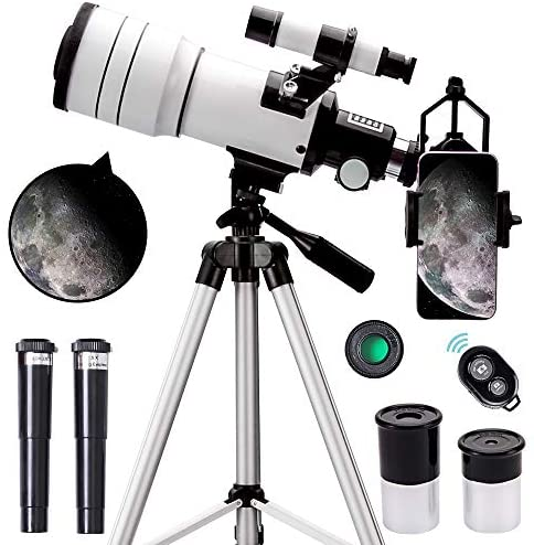 51xuVpd9VeL. AC  - ToyerBee Telescope for Kids &Adults &Beginners,70mm Aperture 300mm Astronomical Refractor Telescope(15X-150X),Portable Travel Telescope with an Adjustable Tripod,A Phone Adapter&A Wireless Remote